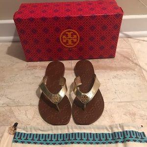 6c75cbc973bf Tory Burch Shoes - Tory Burch Gold Monroe Thong Sandal